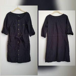 LOFT navy blue shirt dress brass buttons
